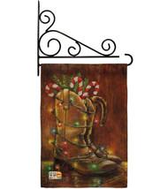 Xmas Boots Burlap - Impressions Decorative Metal Fansy Wall Bracket Gard... - $33.97