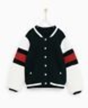 New Zara Girls Bomber Jacket Stripe Plush Sleeves 10 Black Red White - $41.73