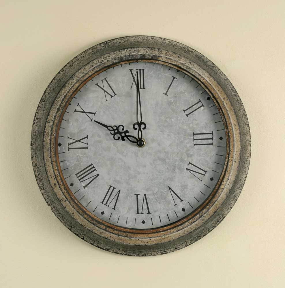 Distressed Vintage Style Country Home Decor Wall Clock Grey