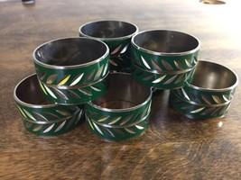 Set of 8 Vintage Laurel Wreath Holly Green Silv... - $35.53