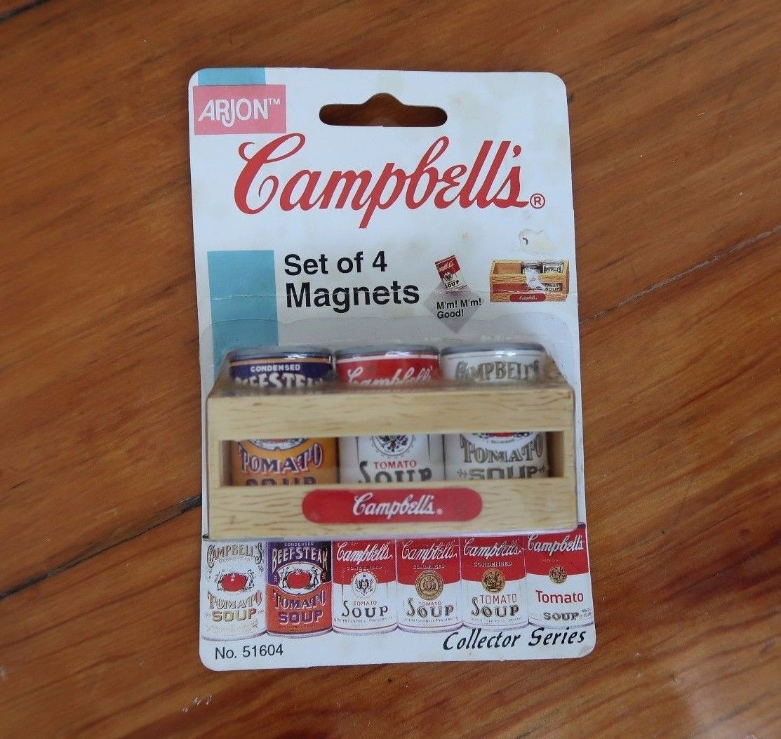 Vintage 1997 Campbell's fridge magnets collectible tomato soup cans minatures