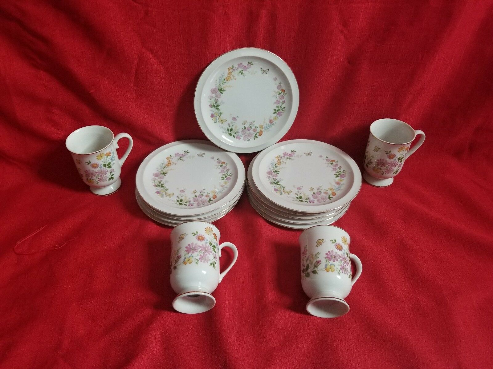 Vintage tea Set Spring Gardenby ROYAL DOMINO butterfly floral Plates +cups14pc - $32.67