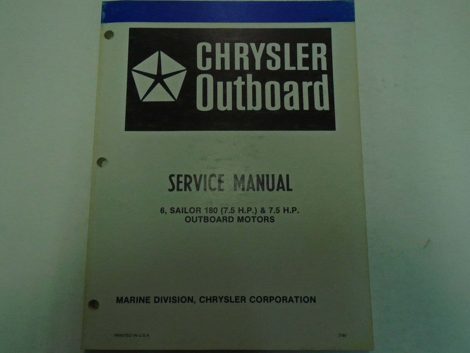 Primary image for 1981 Chrysler Outboard 6 7.5 180 Matrose Motors Service Reparatur Shop Manuell