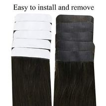 Easyouth 14inch Adhesive Tape in Hair Extensions Balayage Color 2 Dark Brown Fad image 4