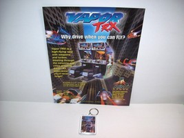 ATARI VAPOR TRX 1998 VIDEO ARCADE GAME PROMO SALES FLYER + PLASTIC KEY C... - $17.81