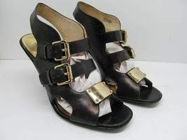 Michael Kors Womens Black Leather Slingback Strappy Pumps With Buckles Size 7.5M - $28.42