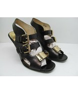 Michael Kors Womens Black Leather Slingback Strappy Pumps With Buckles S... - $28.42