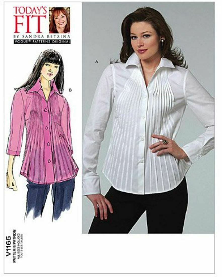 Primary image for Vogue Patterns V1165 Shirt Casual Pleats Darts All Sizes Sandra Betzina
