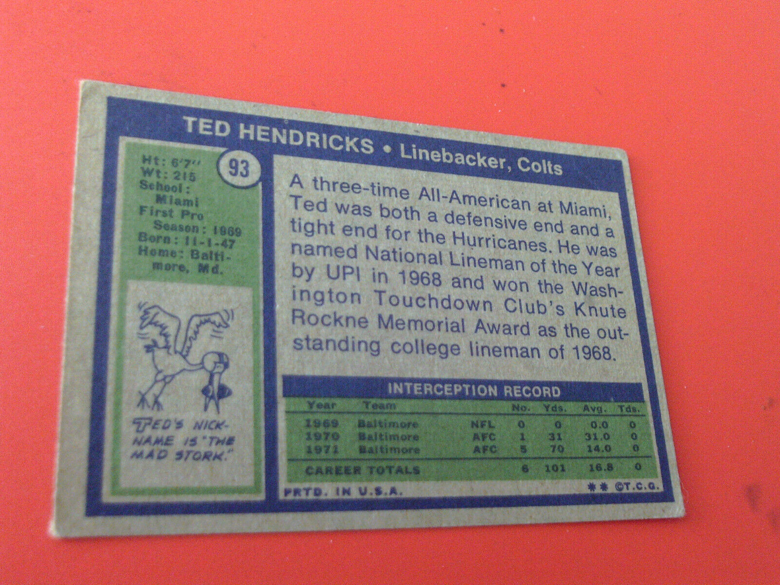 1972   TOPPS  #  93   TED  HENDRICKS   ROOKIE   BALTIMORE  COLTS   FOOTBALL   !!