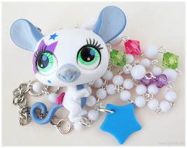 Kawaii Mouse Necklace, Beaded Chain with Upcycled Littlest Pet Shop Figu... - $31.00