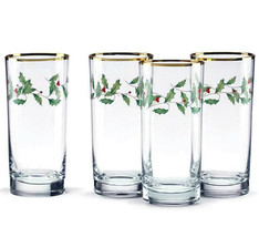 Lenox Holiday Highball Glasses 4 Piece Holly & Berry Motif 14 oz. New in... - $34.90