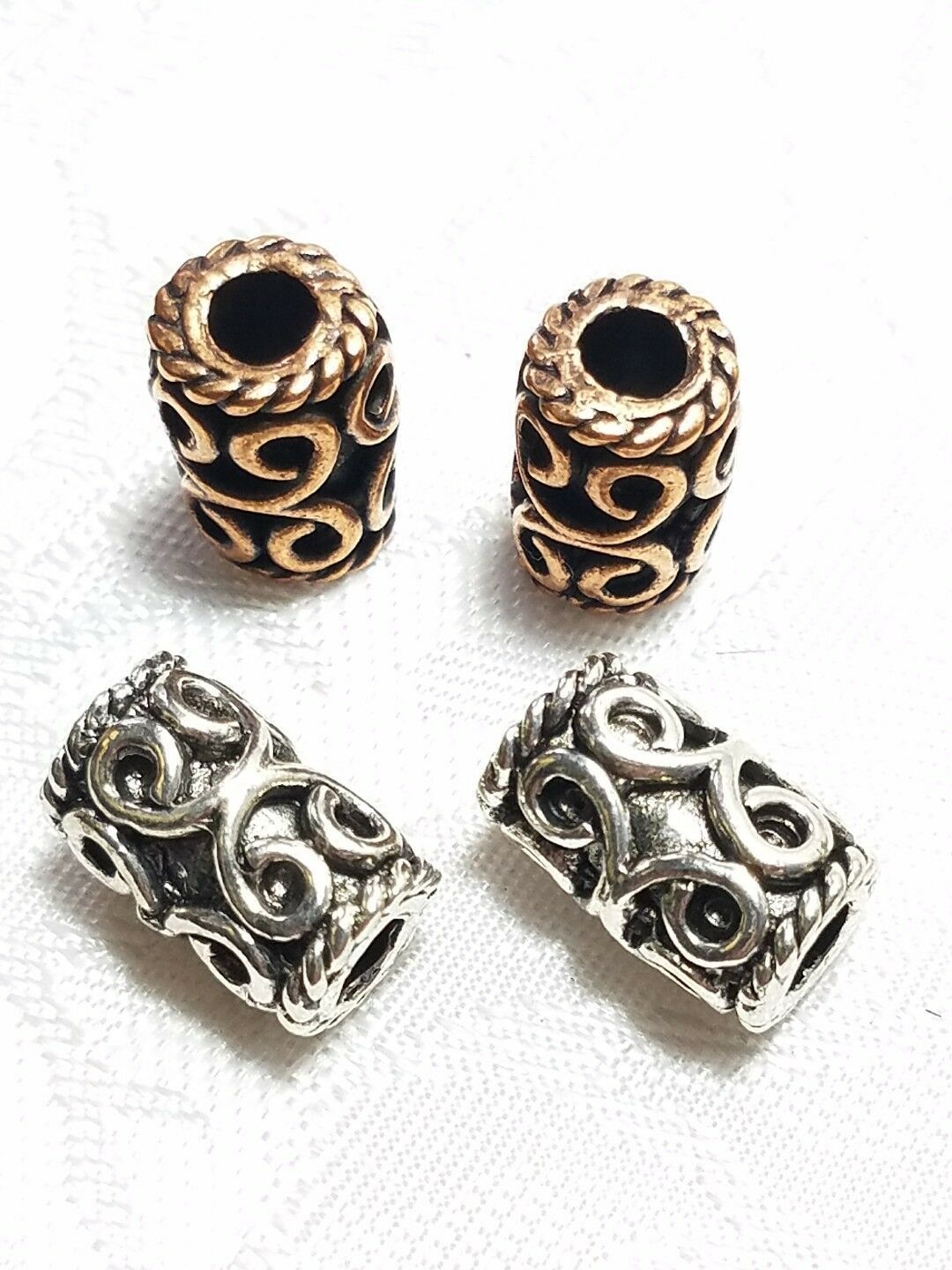 LARGE SCROLL DESIGN TUBE BEAD 3D FINE PEWTER BEAD 13x8x8mm; 4mm Hole