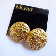 VTG New Monet Signed Gold tone metal Scrll Round Earrings - $16.63
