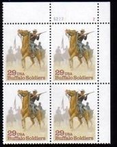 1994 Buffalo Soldiers Plate Block of 4 US Postage Stamps Catalog Number 2818 MNH