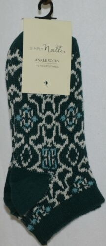 Simply Noelle Dark Green Teal White Ankle Socks One Size Fits Most