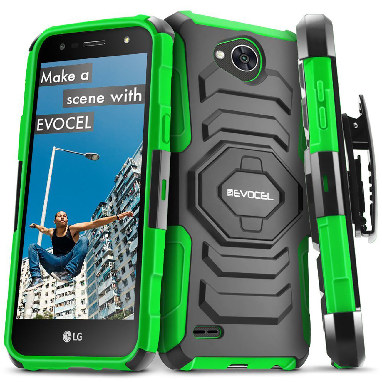Shockproof Case Cover For LG Fiesta LTE/X Power 2/LG V7/ X Charge Kickstand Clip