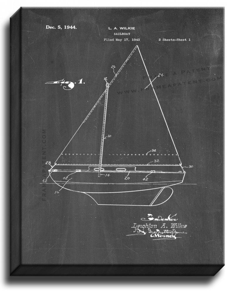 Primary image for Sailboat Patent Print Chalkboard on Canvas