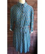 Liberty Love Collared Shirtwaist Dress Blue Geometric Print 2XL Classic - $18.53