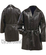 Womens Black Leather Mid-Length Button Front Coat with Tie Belt Double B... - $38.89