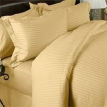 Gold Striped 6PCs Bed Sheet Set 1200 Thread Count Egyptian Cotton All Sizes - $76.20