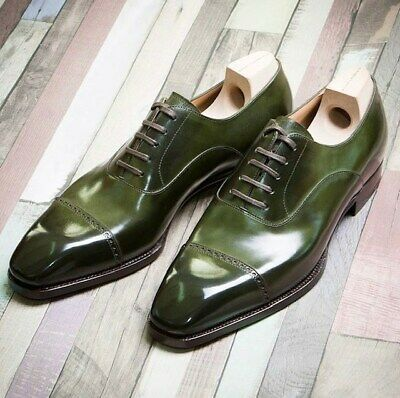 Handmade Men's Green Two Tone Dress/Formal Oxford Leather Shoes