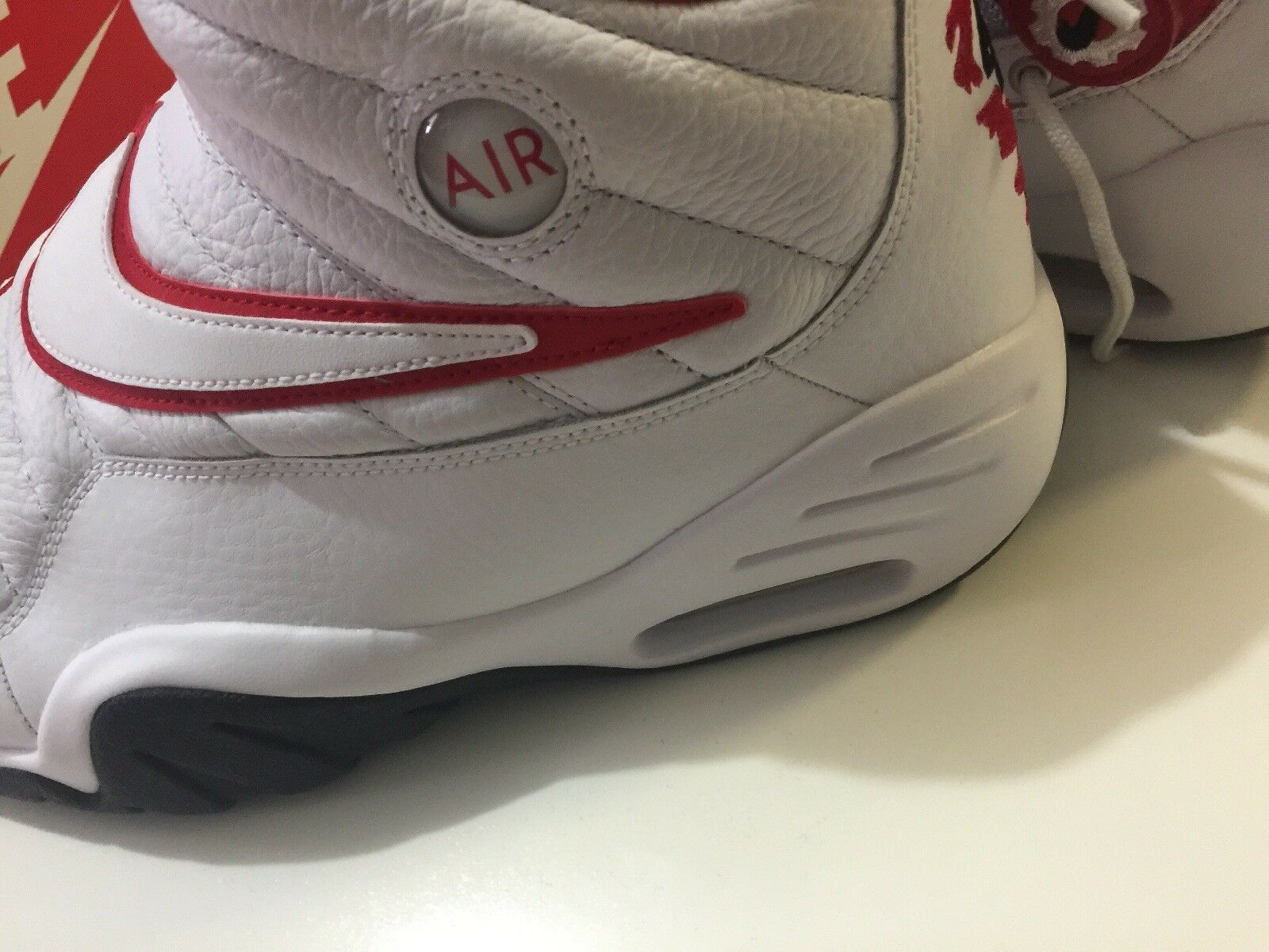 Nike Air Shake Ndestrukt Men's Basketball Shoes White/Red 880869 100 Size 11 image 9