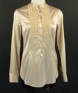CABI Size XS Silk Satin Ruffle Blouse Top - $24.99