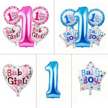 5pcs 1st Birthday Foil Helium Balloon Set Boy Girl Baby Shower Party Dec... - $5.02