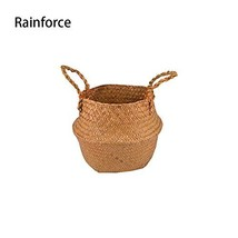 Natural Seagrass Belly Basket Panier Storage Plant Pot Collapsible Nurse... - $26.51 CAD