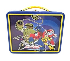 Transformers Animated Tin Steel Lunch Box Tin Box Co. Embossed 3D Blue - $9.85