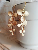 Matte Gold Orchid Trio Earrings Gold Orchid Earrings Bridal Earrings Bri... - $48.00