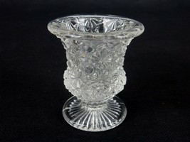 Vintage Clear Glass Toothpick Holder, Footed Urn, Hobstars & Hexagons #T... - $12.69