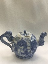 Small Asian Dragon Blue And White Tea Pot - Chop Marks - $43.54