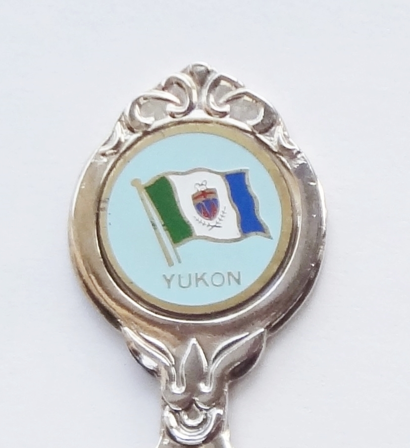 Primary image for Collector Souvenir Spoon Canada Yukon Flag Emblem Goldtone