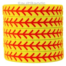 Set of SOFTBALL Thread Silicone Wristbands - Wholesale Wrist Band Bracel... - $4.93+