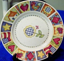 Gibson Patchwork Flag Apple Salad Plate Lovely Set of 4 - $28.97