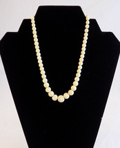Hand Carved 8 inch Long Round White Celluloid Bead Necklace Occupied Jap... - $23.75