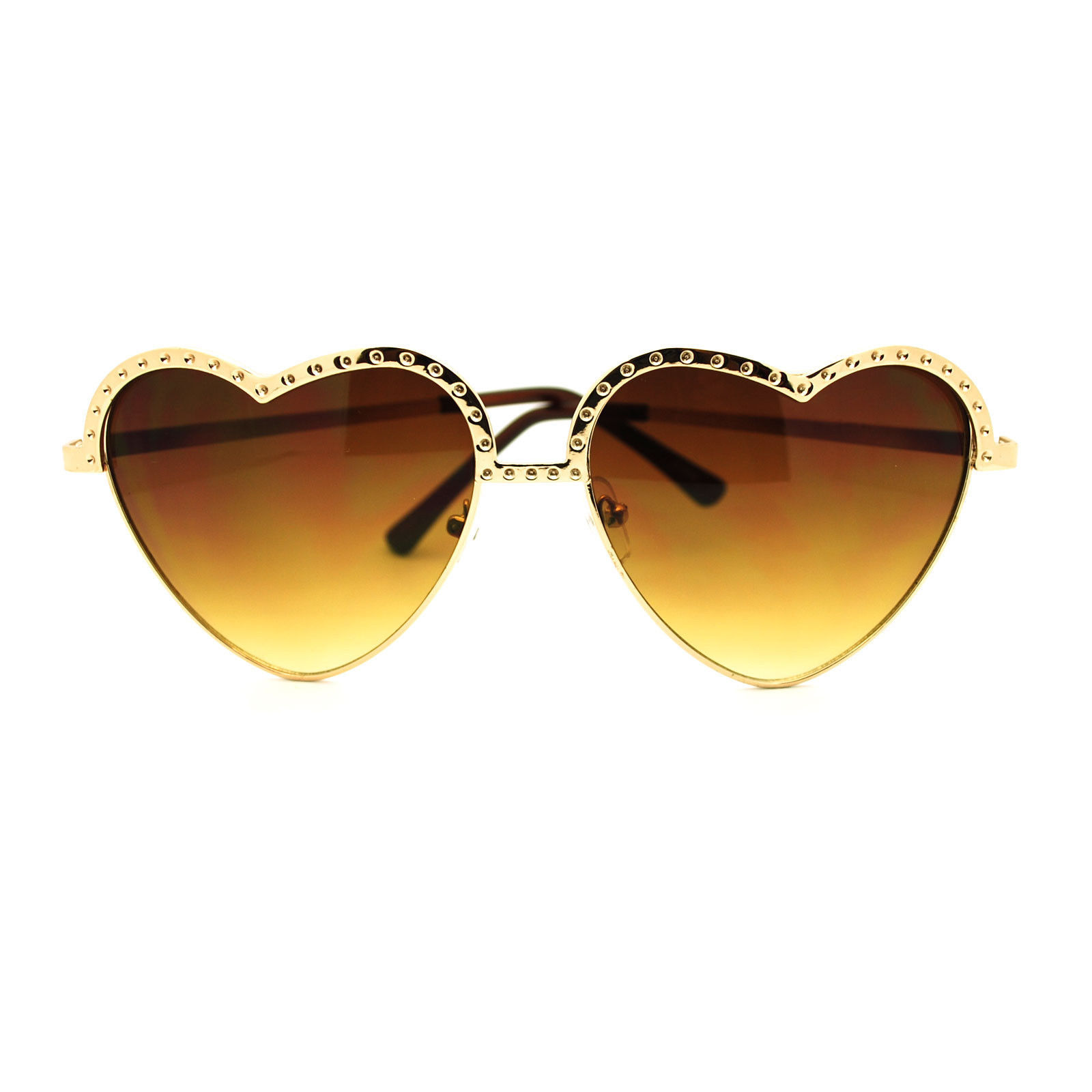 New Metal Bling Half Rim Heart Shape Cute Love Girly Fashion Sunglasses