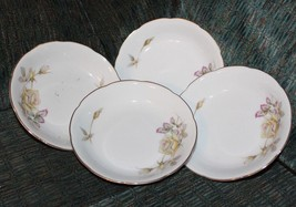 .4 Ucagco berry bowls set of 4 Oxford Rose pattern  Japan yellow  rose g... - $19.80