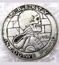 Hobo Creative 1961 Franklin Silver Half Dollar Skull Hooded Zombie Skele... - $11.99