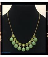 j crew gold tone green rhinestone bubble statement  necklace N2 - $21.79