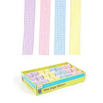 "2"" Checkered Printed Chiffon Wire Edge Ribbon 2"" X 3Yds, , 4 Colors, Cas... - £75.68 GBP"