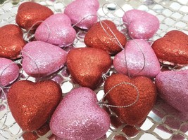 "Valentines Day Pink Red Glitter Hearts 1.5"" Ornaments Decorations Decor ... - $14.29"