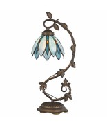 Tiffany Style Table Lamp Accent Flower Shape Stained Glass Home Décor De... - $59.99
