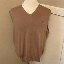 Polo Ralph Lauren Pima Cotton V Neck Sweater Vest XXL Brown Tan with Pon... - $55.00