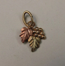 10k Yellow & Rose Gold Tiny Leaf Jewelry Pendant Grape Vine Textured