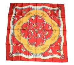 Hermes Scarf La Cle des Champs by Françoise Façonnet Silk 90 cm Red Carr... - $335.61