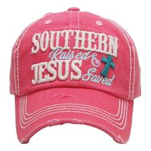 """SOUTHERN RAISED & JESUS SAVED "" Embroidered, Vintage Style Ball Cap image 5"