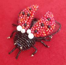 "Handmade beaded brooch ""Ladybug"" - $60.00"