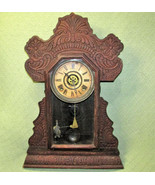 Antique INGRAHAM MANTLE CLOCK Gingerbread Style WOODEN with KEY FUNCTION... - $116.88